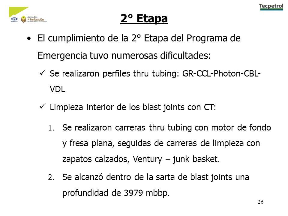 26 2° Etapa El cumplimiento de la 2° Etapa del Programa de Emergencia tuvo numerosas dificultades: Se realizaron perfiles thru tubing: GR-CCL-Photon-CBL- VDL Limpieza interior de los blast joints con CT: 1.