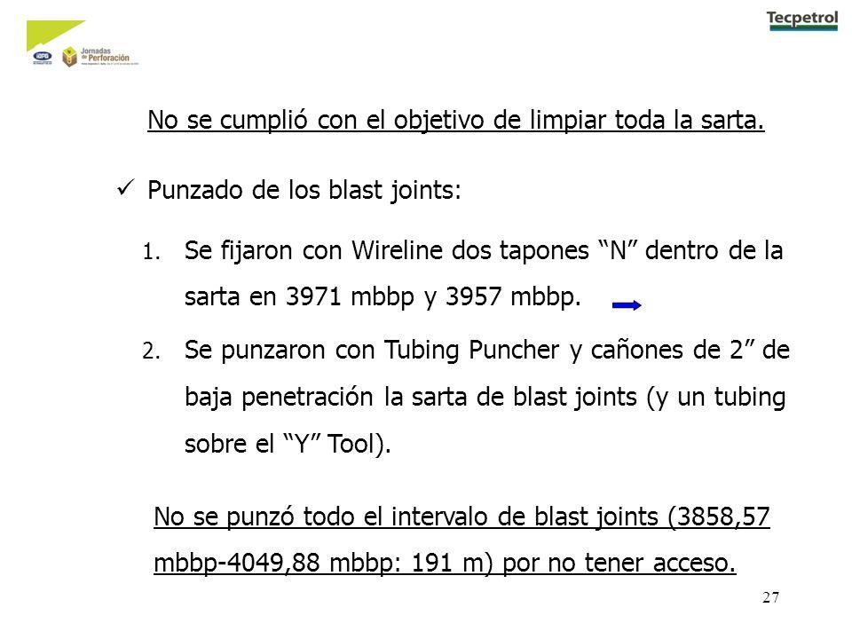 27 1.Se fijaron con Wireline dos tapones N dentro de la sarta en 3971 mbbp y 3957 mbbp.