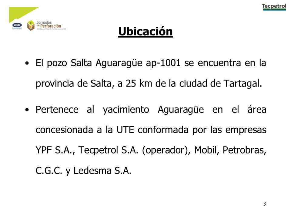 3 Ubicación El pozo Salta Aguaragüe ap-1001 se encuentra en la provincia de Salta, a 25 km de la ciudad de Tartagal. Pertenece al yacimiento Aguaragüe