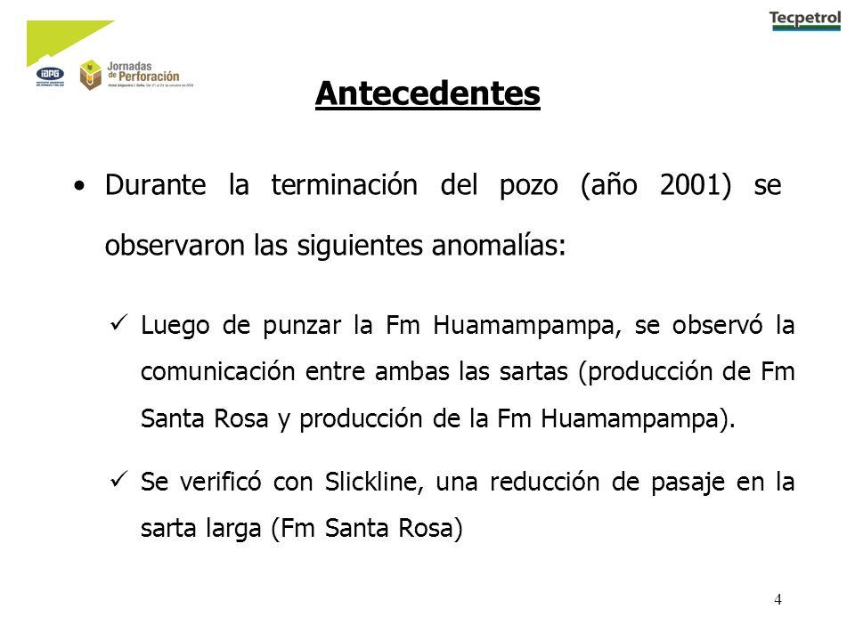 4 Antecedentes Durante la terminación del pozo (año 2001) se observaron las siguientes anomalías: Luego de punzar la Fm Huamampampa, se observó la comunicación entre ambas las sartas (producción de Fm Santa Rosa y producción de la Fm Huamampampa).