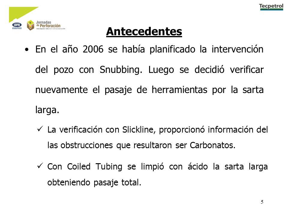 5 Antecedentes En el año 2006 se había planificado la intervención del pozo con Snubbing. Luego se decidió verificar nuevamente el pasaje de herramien