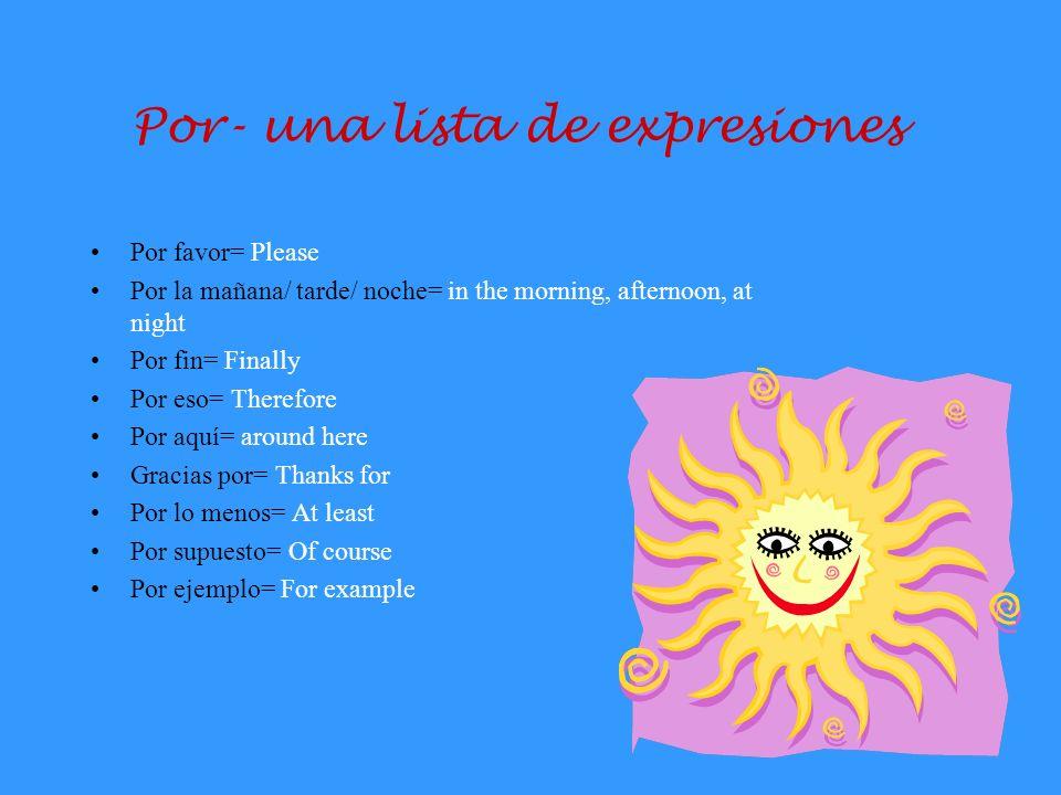 Por vs Para En español, hay dos maneras para expresar la palabra for. Vamos a discutir las diferencias.