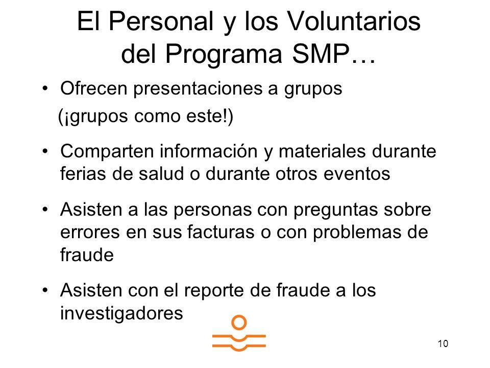 10 El Personal y los Voluntarios del Programa SMP… Ofrecen presentaciones a grupos (¡grupos como este!) Comparten información y materiales durante fer
