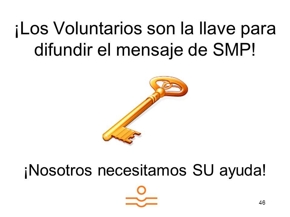 46 ¡Los Voluntarios son la llave para difundir el mensaje de SMP! ¡Nosotros necesitamos SU ayuda!