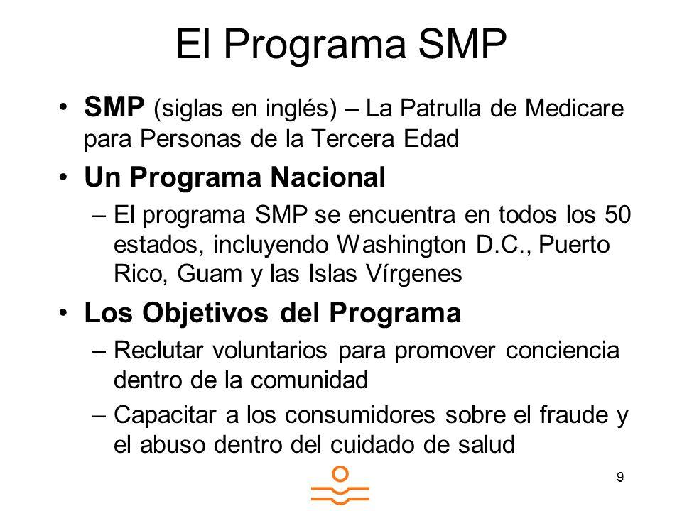 9 El Programa SMP SMP (siglas en inglés) – La Patrulla de Medicare para Personas de la Tercera Edad Un Programa Nacional –El programa SMP se encuentra