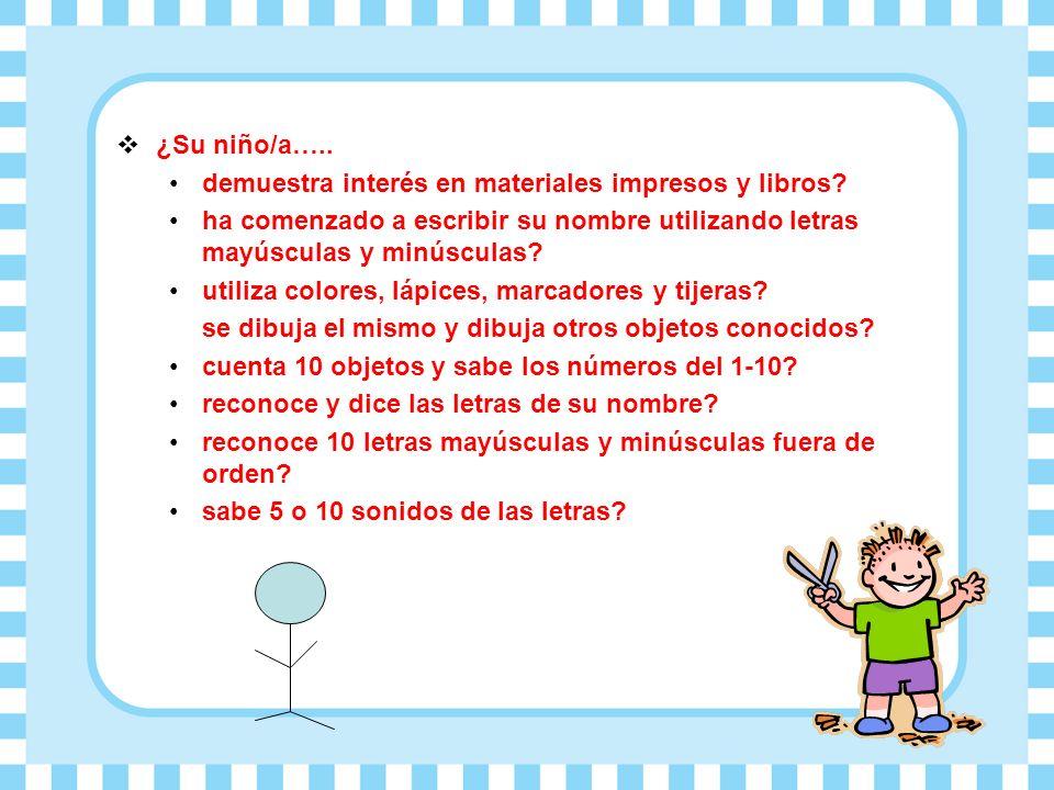 ¿Su niño/a…..demuestra interés en materiales impresos y libros.