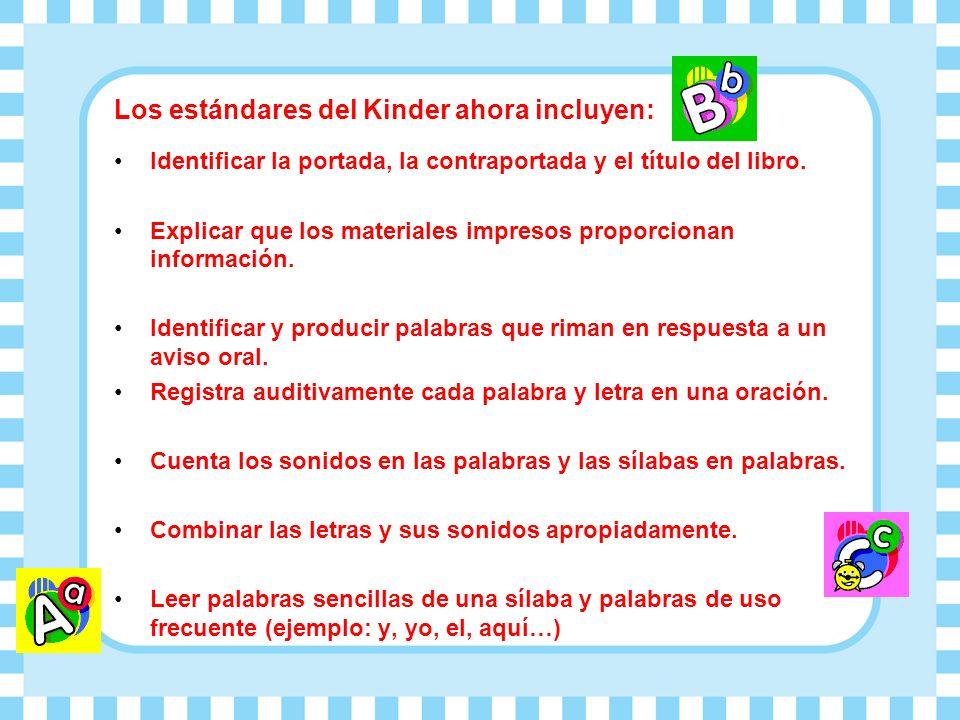 Los estándares del Kinder ahora incluyen: Identificar la portada, la contraportada y el título del libro. Explicar que los materiales impresos proporc