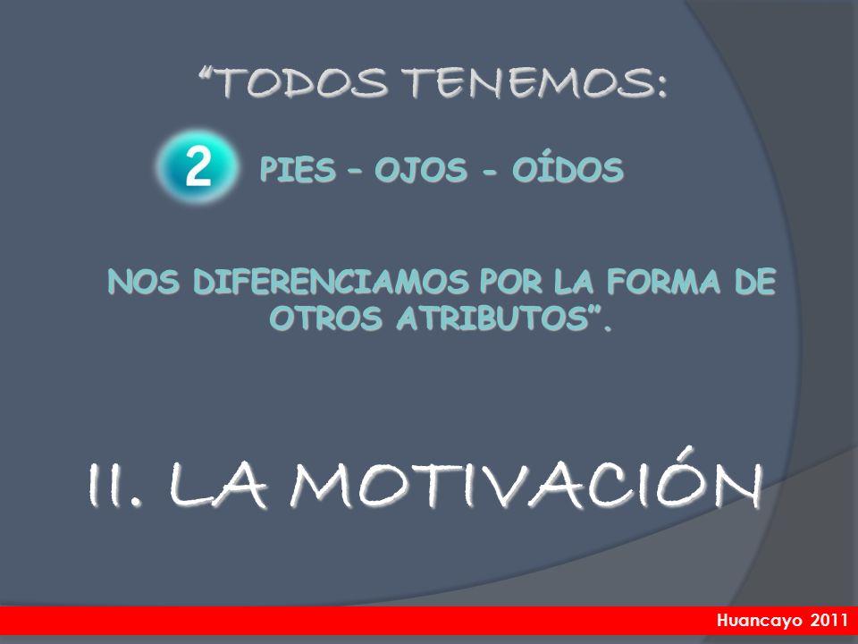 II. LA MOTIVACIÓN TODOS TENEMOS: PIES – OJOS - OÍDOS NOS DIFERENCIAMOS POR LA FORMA DE OTROS ATRIBUTOS. Huancayo 2011