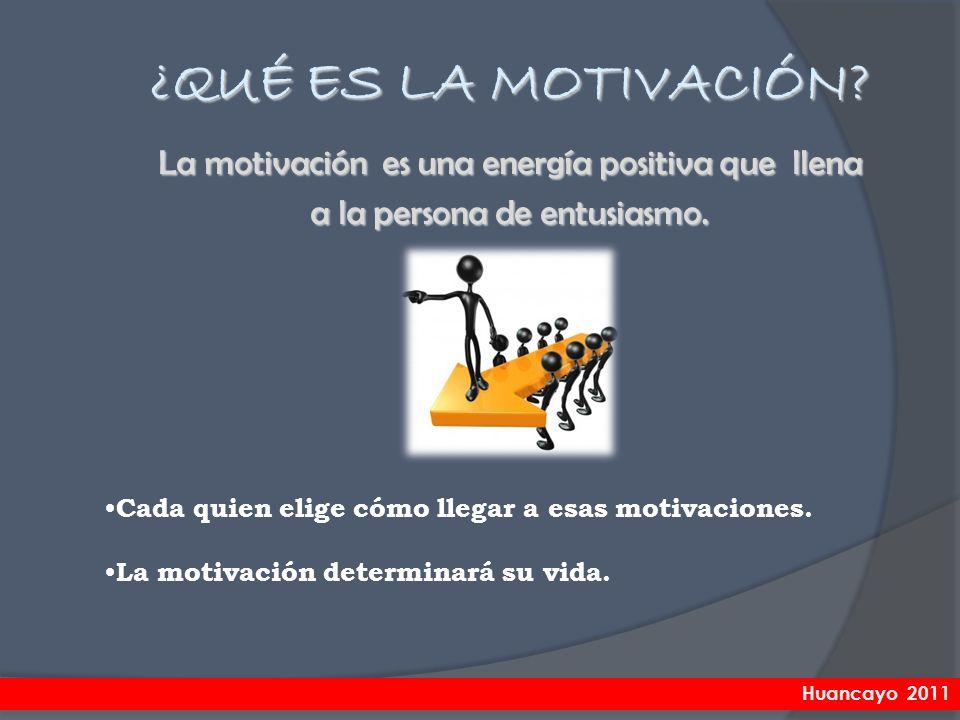 Cada quien elige cómo llegar a esas motivaciones. La motivación determinará su vida. La motivación es una energía positiva que llena a la persona de e