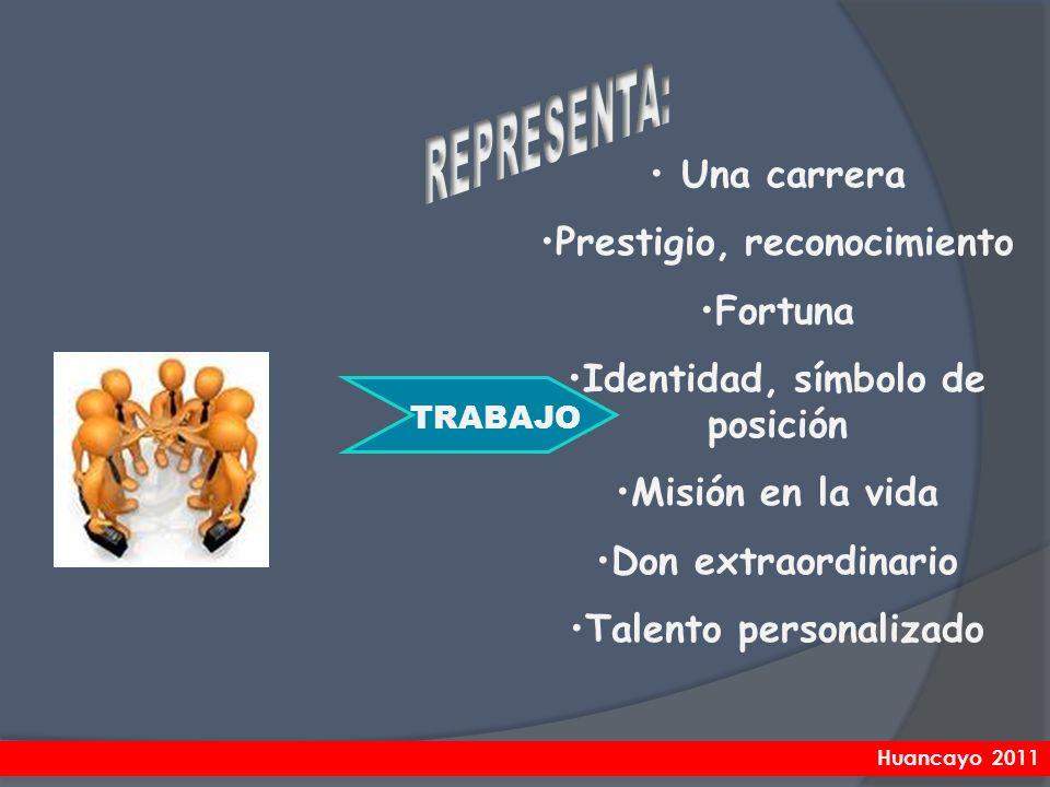 Una carrera Prestigio, reconocimiento Fortuna Identidad, símbolo de posición Misión en la vida Don extraordinario Talento personalizado TRABAJO Huanca