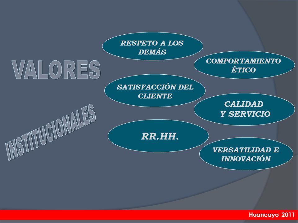COMPORTAMIENTO ÉTICO CALIDAD Y SERVICIO RESPETO A LOS DEMÁS SATISFACCIÓN DEL CLIENTE VERSATILIDAD E INNOVACIÓN RR.HH. Huancayo 2011