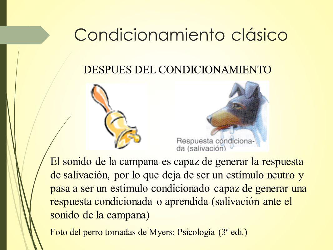 Condicionamiento clásico DESPUES DEL CONDICIONAMIENTO El sonido de la campana es capaz de generar la respuesta de salivación, por lo que deja de ser u