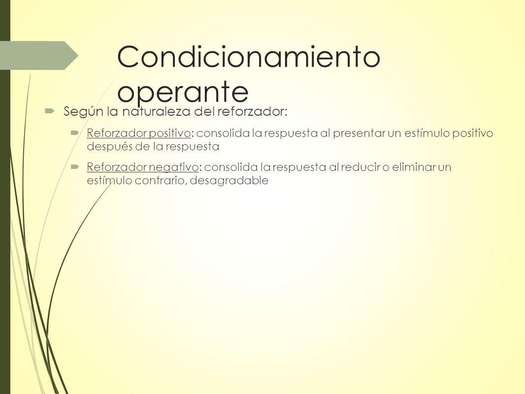 Condicionamiento operante Según la naturaleza del reforzador: Reforzador positivo: consolida la respuesta al presentar un estímulo positivo después de la respuesta Reforzador negativo: consolida la respuesta al reducir o eliminar un estímulo contrario, desagradable