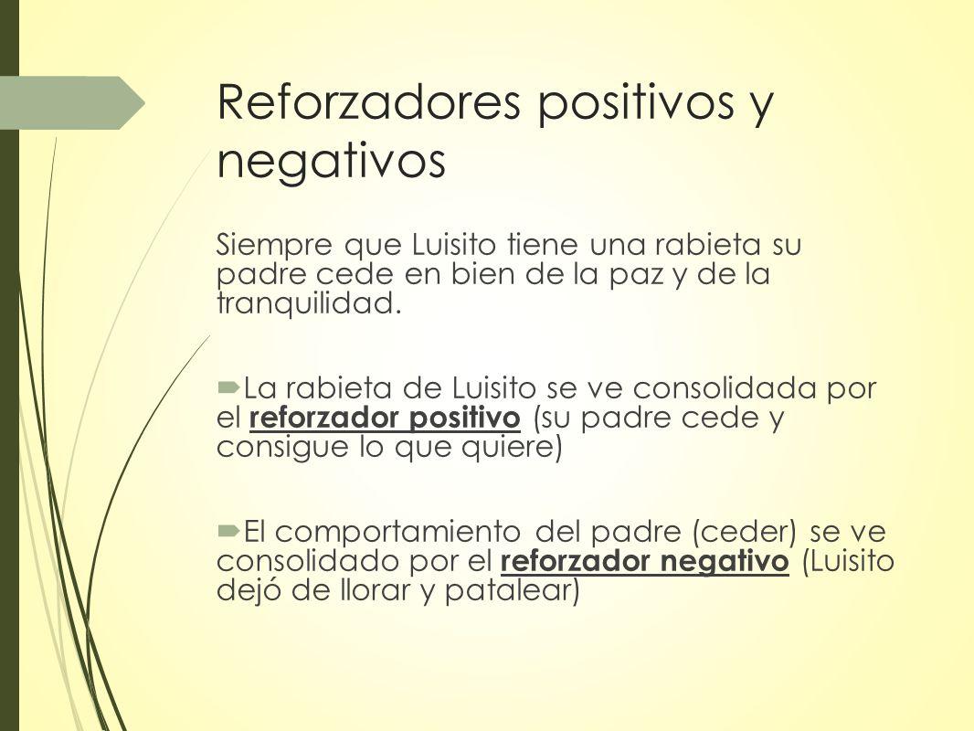 Reforzadores positivos y negativos Siempre que Luisito tiene una rabieta su padre cede en bien de la paz y de la tranquilidad.