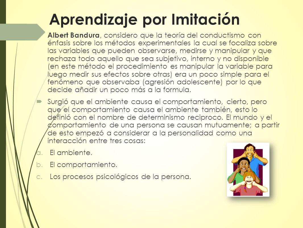 Albert Bandura, considero que la teoría del conductismo con énfasis sobre los métodos experimentales la cual se focaliza sobre las variables que puede