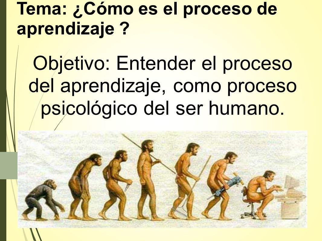 Tema: ¿Cómo es el proceso de aprendizaje ? Objetivo: Entender el proceso del aprendizaje, como proceso psicológico del ser humano.