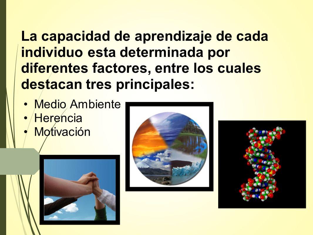 La capacidad de aprendizaje de cada individuo esta determinada por diferentes factores, entre los cuales destacan tres principales: Medio Ambiente Herencia Motivación.