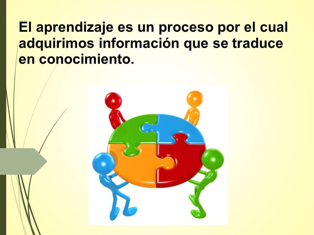 El aprendizaje es un proceso por el cual adquirimos información que se traduce en conocimiento.