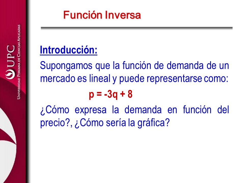 Introducción: Supongamos que la función de demanda de un mercado es lineal y puede representarse como: p = -3q + 8 ¿Cómo expresa la demanda en función