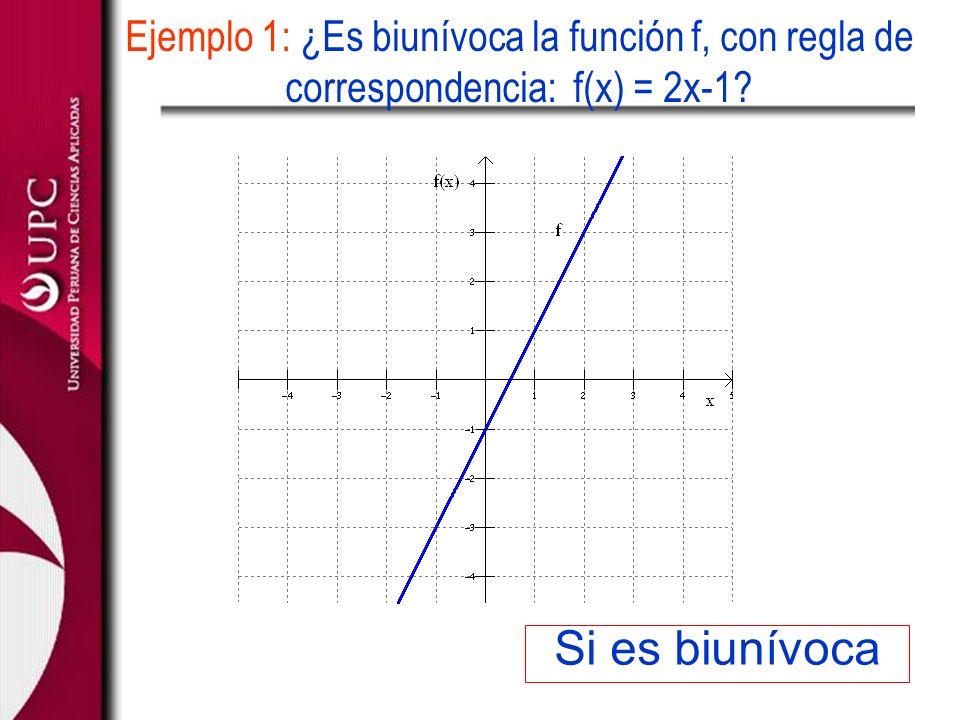 Si es biunívoca Ejemplo 1: ¿Es biunívoca la función f, con regla de correspondencia: f(x) = 2x-1?