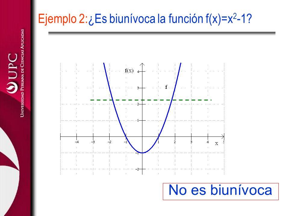 No es biunívoca Ejemplo 2:¿Es biunívoca la función f(x)=x 2 -1?