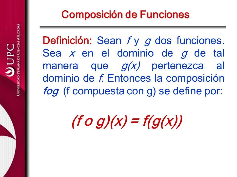 Definición: Sean f y g dos funciones. Sea x en el dominio de g de tal manera que g(x) pertenezca al dominio de f. Entonces la composición fog (f compu