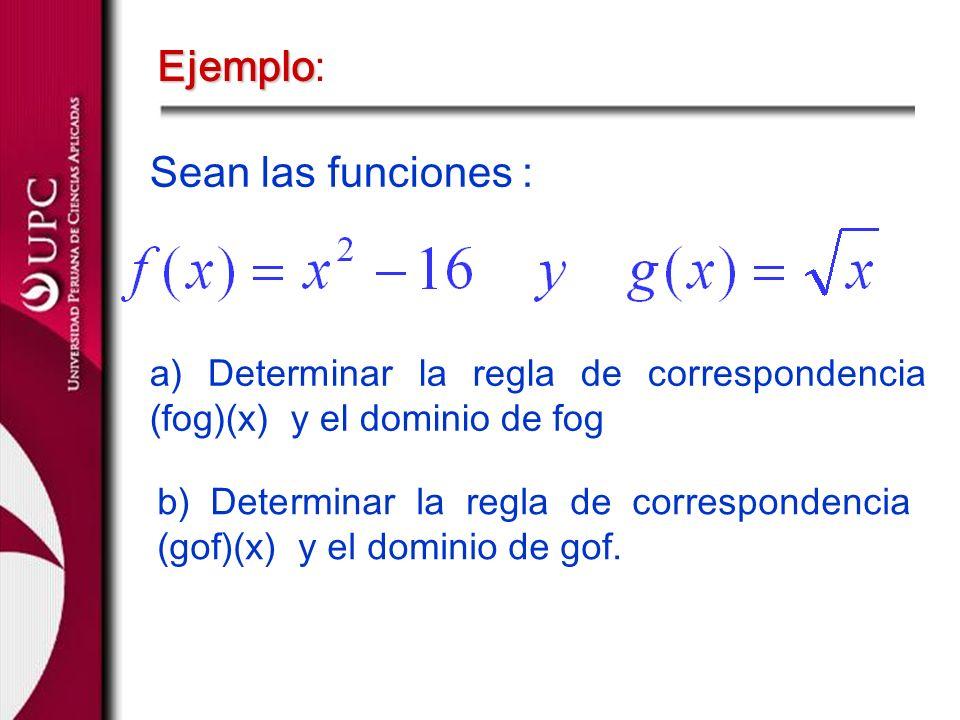 Ejemplo Ejemplo: Sean las funciones : a) Determinar la regla de correspondencia (fog)(x) y el dominio de fog b) Determinar la regla de correspondencia