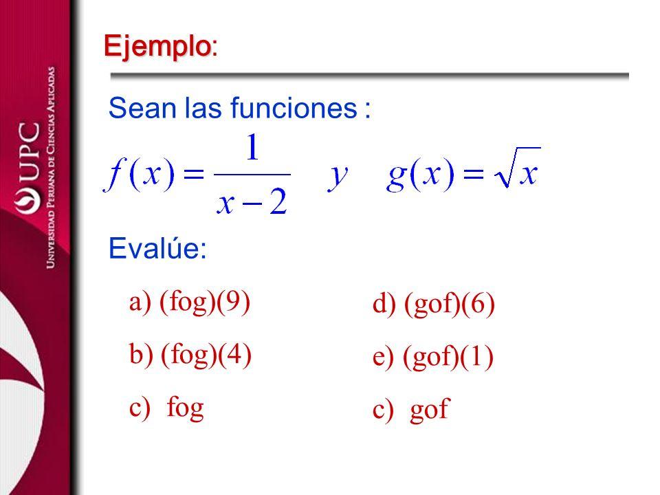 Ejemplo Ejemplo: Sean las funciones : Evalúe: a) (fog)(9) b) (fog)(4) c) fog d) (gof)(6) e) (gof)(1) c) gof