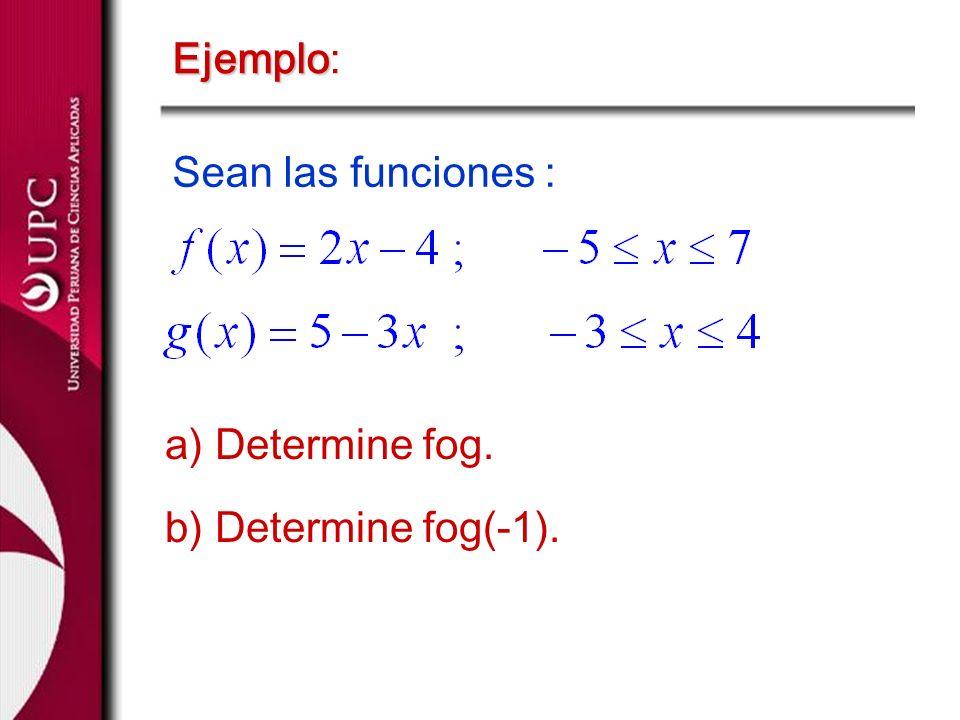 Ejemplo Ejemplo: Sean las funciones : a) Determine fog. b) Determine fog(-1).