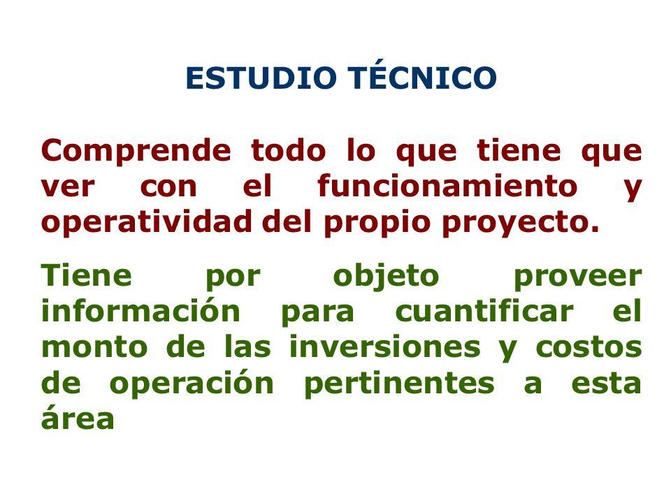 ESTUDIO TÉCNICO Comprende todo lo que tiene que ver con el funcionamiento y operatividad del propio proyecto. Tiene por objeto proveer información par