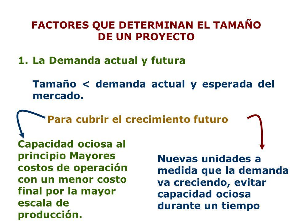 FACTORES QUE DETERMINAN EL TAMAÑO DE UN PROYECTO 1.La Demanda actual y futura Tamaño < demanda actual y esperada del mercado. Para cubrir el crecimien