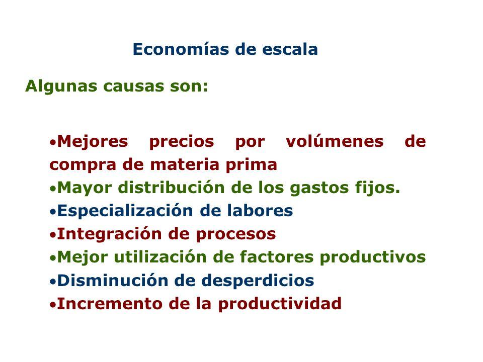 Economías de escala Algunas causas son: Mejores precios por volúmenes de compra de materia prima Mayor distribución de los gastos fijos. Especializaci