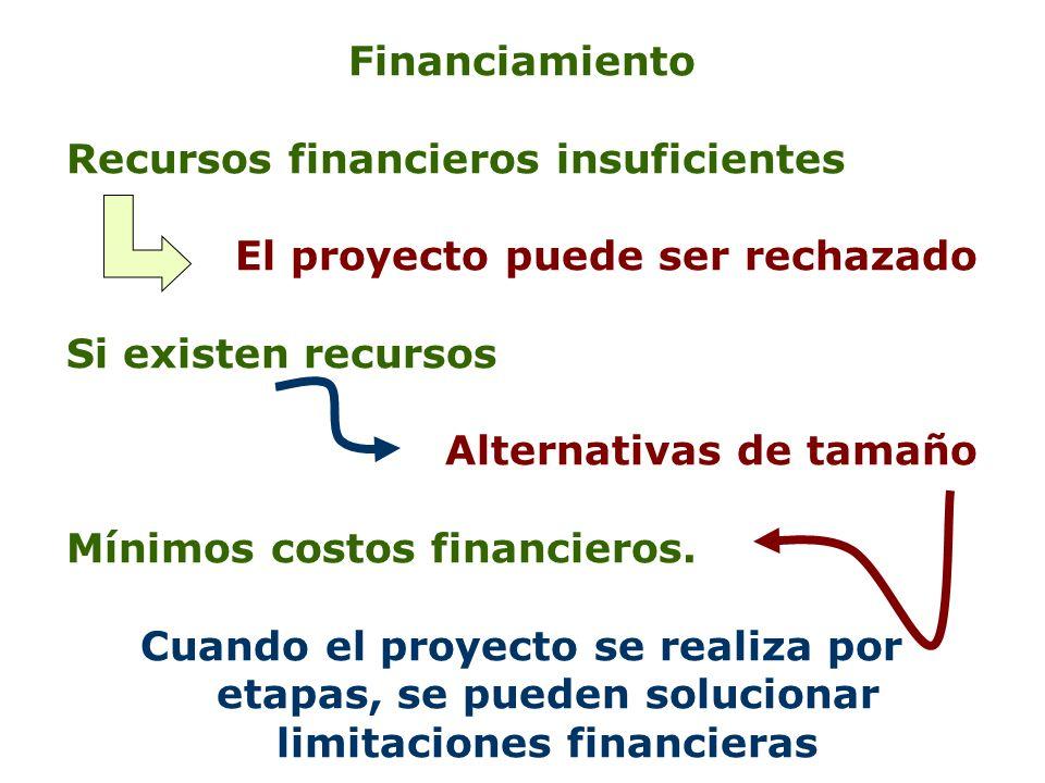 Financiamiento Recursos financieros insuficientes El proyecto puede ser rechazado Si existen recursos Alternativas de tamaño Mínimos costos financiero