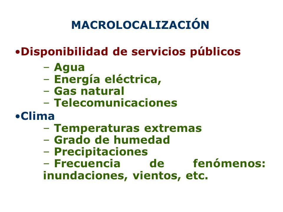 MACROLOCALIZACIÓN Disponibilidad de servicios públicos – Agua – Energía eléctrica, – Gas natural – Telecomunicaciones Clima – Temperaturas extremas –
