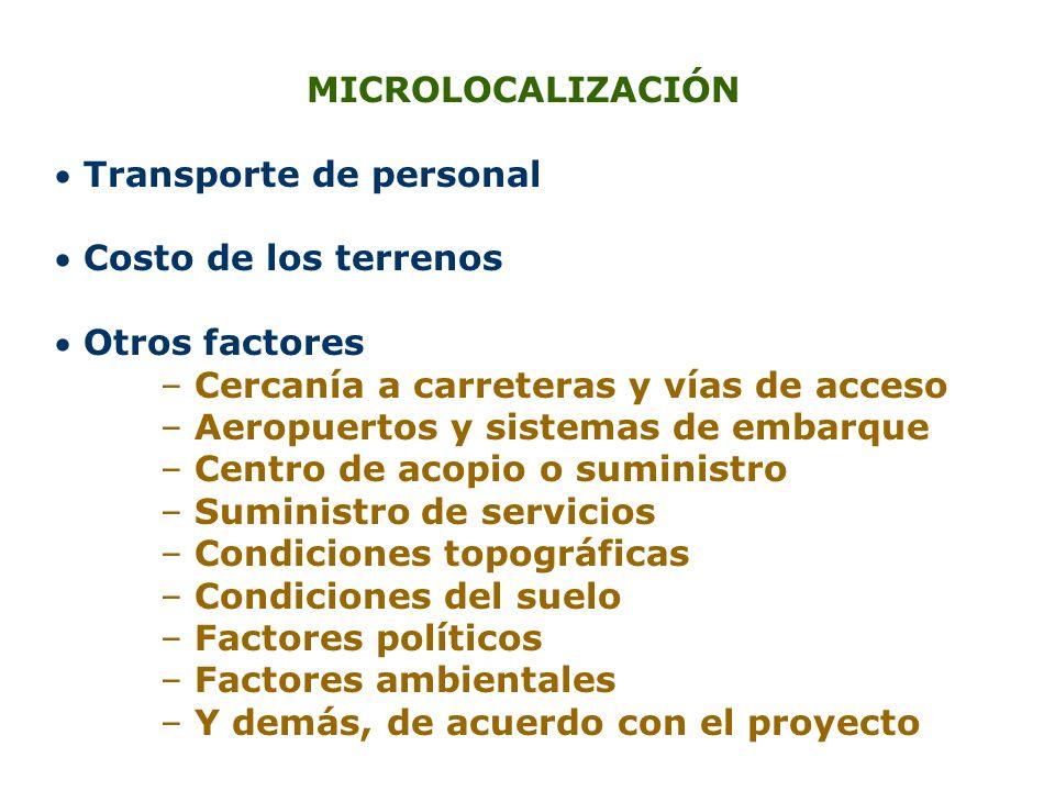 MICROLOCALIZACIÓN Transporte de personal Costo de los terrenos Otros factores – Cercanía a carreteras y vías de acceso – Aeropuertos y sistemas de emb