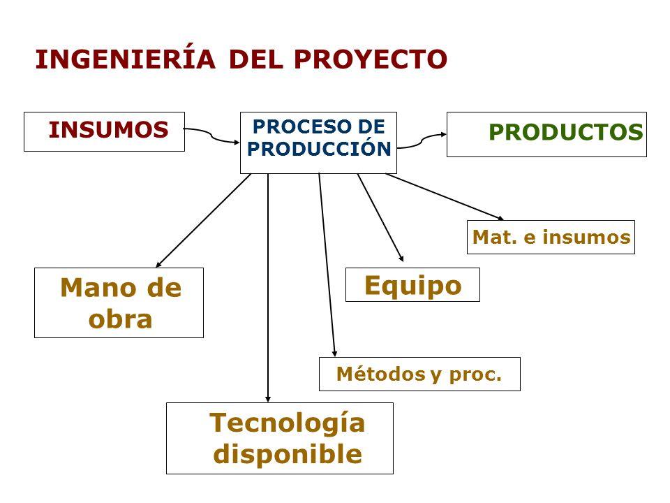 INGENIERÍA DEL PROYECTO INSUMOS PROCESO DE PRODUCCIÓN PRODUCTOS Mano de obra Tecnología disponible Equipo Mat. e insumos Métodos y proc.