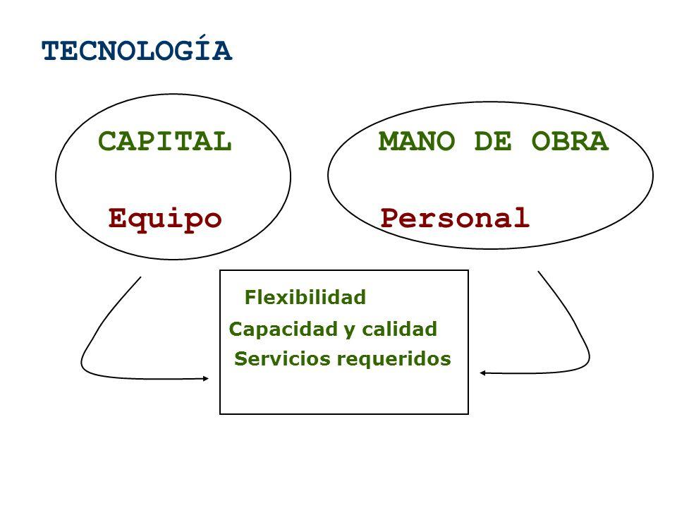 TECNOLOGÍA CAPITALMANO DE OBRA EquipoPersonal Flexibilidad Capacidad y calidad Servicios requeridos