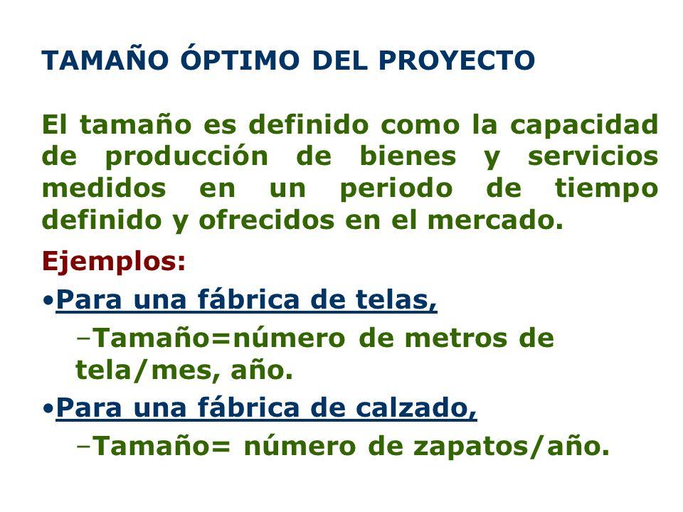 TAMAÑO ÓPTIMO DEL PROYECTO El tamaño es definido como la capacidad de producción de bienes y servicios medidos en un periodo de tiempo definido y ofre