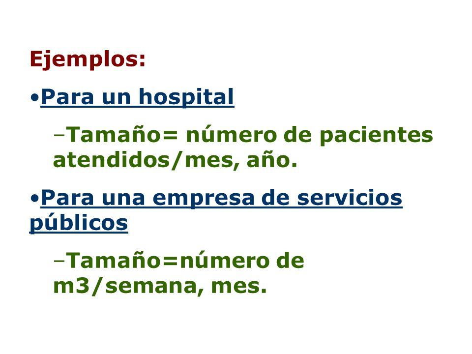 Ejemplos: Para un hospital –Tamaño= número de pacientes atendidos/mes, año. Para una empresa de servicios públicos –Tamaño=número de m3/semana, mes.