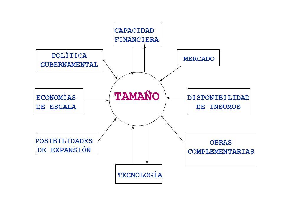 FACTORES QUE DETERMINAN EL TAMAÑO DE UN PROYECTO 1.La Demanda actual y futura Tamaño < demanda actual y esperada del mercado.