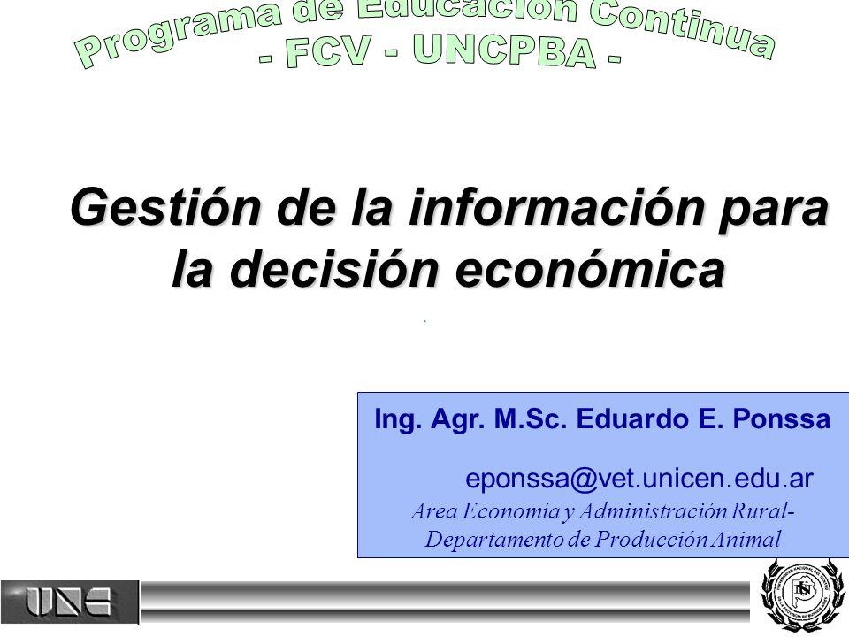 Gestión de la información para la decisión económica Ing.