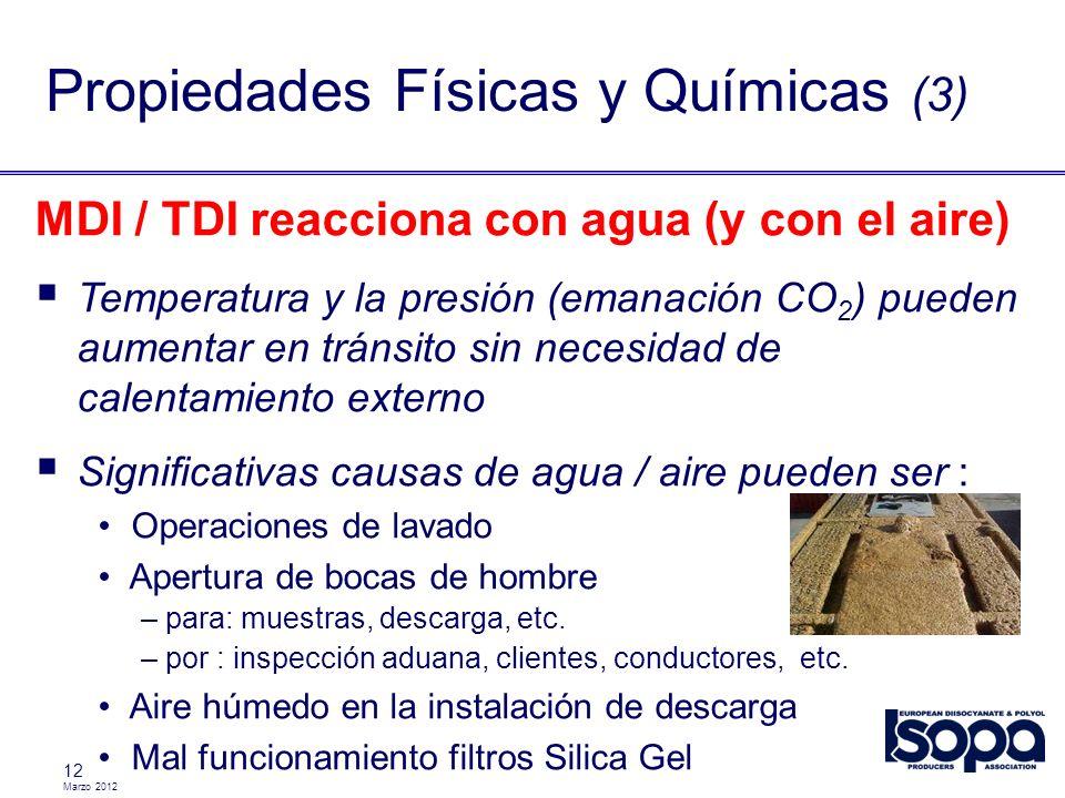 Marzo 2012 12 Propiedades Físicas y Químicas (3) MDI / TDI reacciona con agua (y con el aire) Temperatura y la presión (emanación CO 2 ) pueden aument