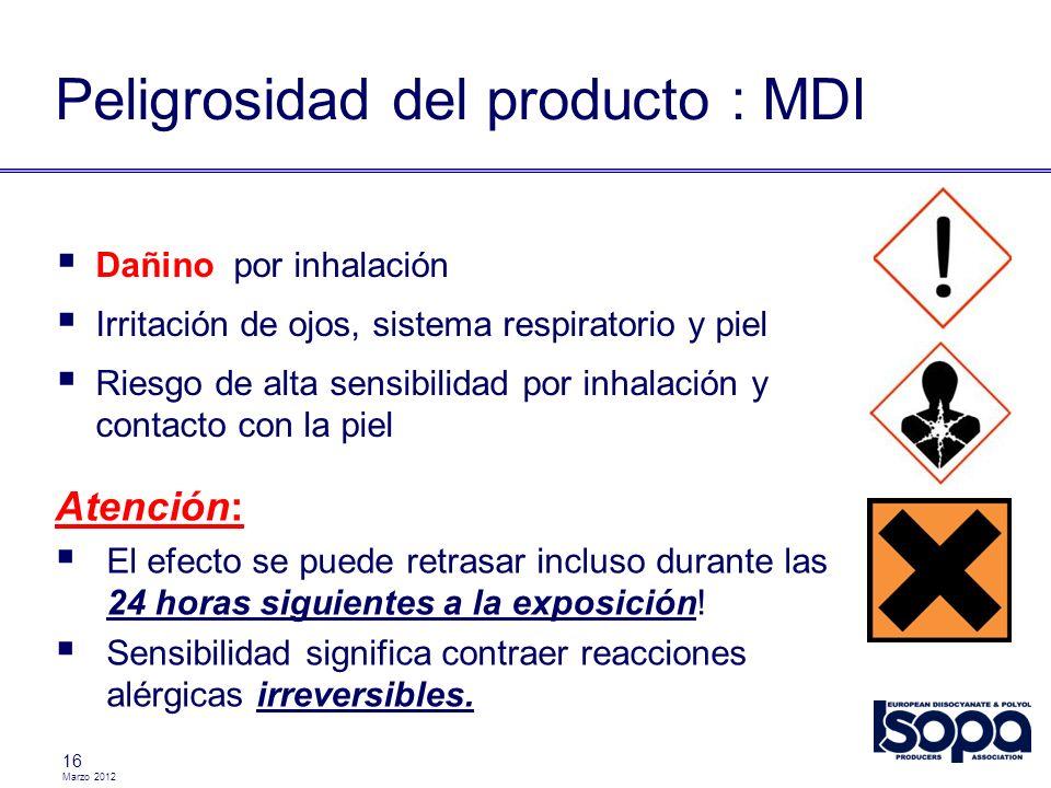 Marzo 2012 17 Clasificación / Marcas ProductoTransporteUso MDINo regulado pero todavía dañino TDIADR / RID / IMDG UN 2078 Class 6.1 Packing Group II Placas / Marcas : ADR categoria túnel : (D/E) 60 2078