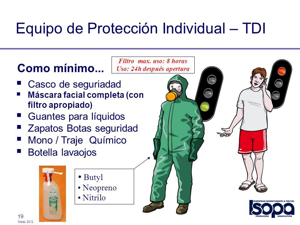 Marzo 2012 19 Casco de seguriadad Máscara facial completa (con filtro apropiado) Guantes para líquidos Zapatos Botas seguridad Mono / Traje Químico Bo