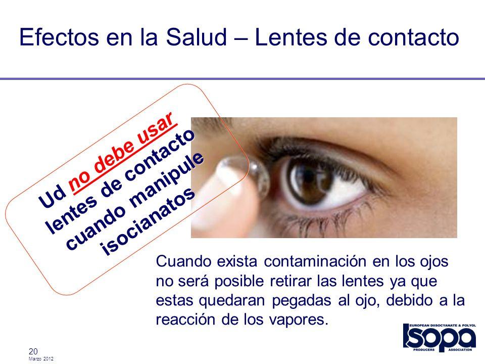 Marzo 2012 20 Efectos en la Salud – Lentes de contacto Cuando exista contaminación en los ojos no será posible retirar las lentes ya que estas quedara