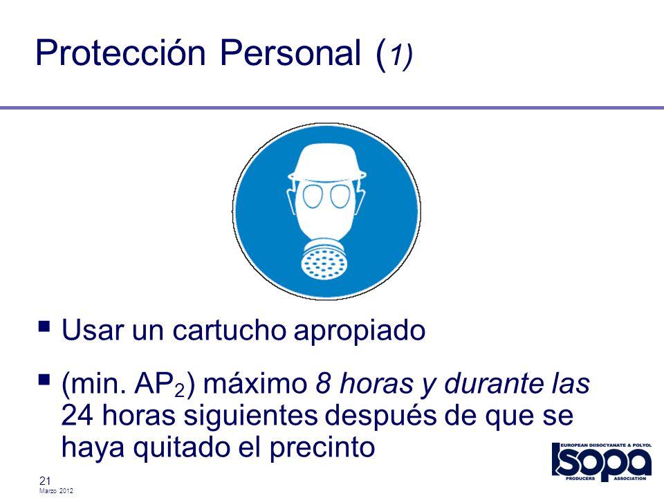 Marzo 2012 21 Protección Personal ( 1) Usar un cartucho apropiado (min. AP 2 ) máximo 8 horas y durante las 24 horas siguientes después de que se haya