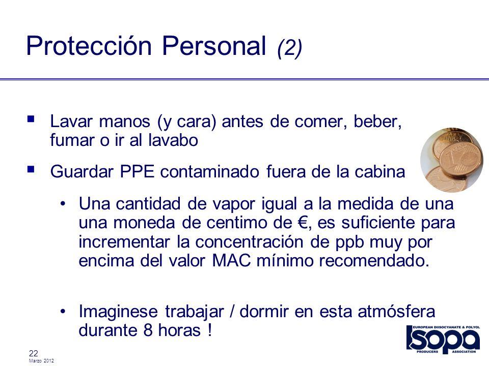Marzo 2012 22 Lavar manos (y cara) antes de comer, beber, fumar o ir al lavabo Guardar PPE contaminado fuera de la cabina Una cantidad de vapor igual