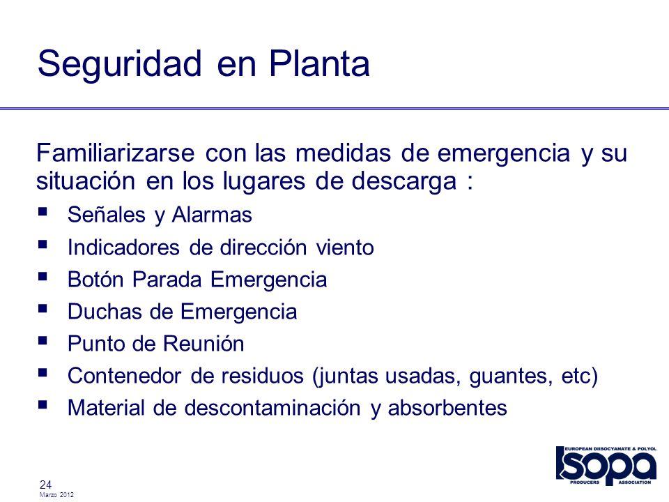Marzo 2012 24 Seguridad en Planta Familiarizarse con las medidas de emergencia y su situación en los lugares de descarga : Señales y Alarmas Indicador