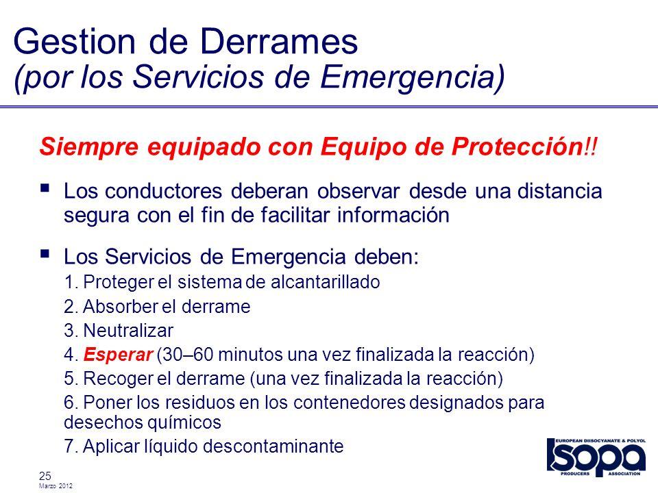 Marzo 2012 25 Gestion de Derrames (por los Servicios de Emergencia) Siempre equipado con Equipo de Protección!! Los conductores deberan observar desde