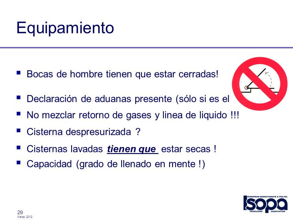 Marzo 2012 29 Equipamiento Bocas de hombre tienen que estar cerradas! Declaración de aduanas presente (sólo si es el caso) No mezclar retorno de gases
